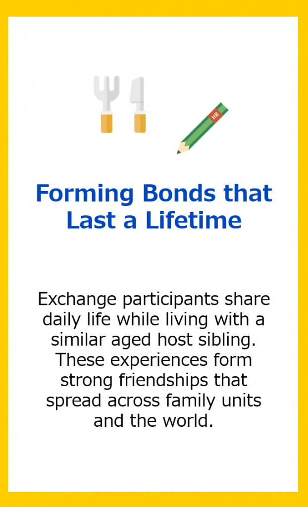 Forming Bonds that Last a Lifetime: Exchange participants share daily life while living with a similar aged host sibling. These experiences form strong friendships that spread across family units and the world.